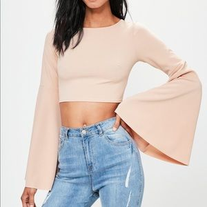 Misguided nude extreme flared sleeve crop top